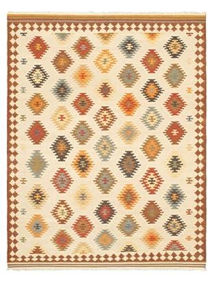 Hand Woven Anatolian Kilim, Brown/Cream, 8' x 10'