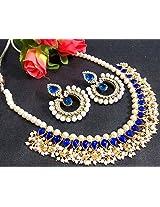 Blue Kundan Dulhan Pearl Polki Necklace Set