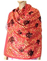 Indian Fashion Guru  light pink  gift  woolen stoles  stoles  Flower design  Embroidery stole  shawl