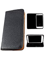 DooDa PU Leather Flip Case Cover For Micromax Canvas Doodle A111 (Black)