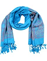 MALTDZ Women's Cashmera and Silk Pashmina Scarf (Blue)