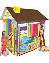 Littlefun Kids Foldable Playhouse Kit Premium Paper Corrugated Cardboard Construction Child Diy Hand Drawing Painting And Imagination Training Toy Play House (Happy Farm Cottage)