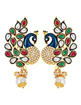 Peora Paisley Peacock Pearl Earrings for Women