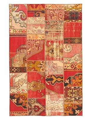 Handmade Ottoman Yama Patchwork Wool Rug, Pink, 4' 11
