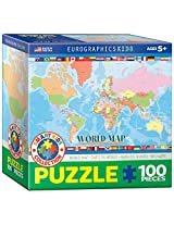 EuroGraphics World Map for Kids Jigsaw Puzzle (100-Piece)
