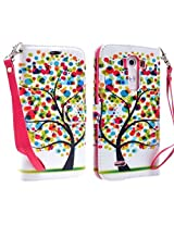 LG G3 Designed Luxury Magnetic Wallet PU Leather Credit Card Holder Flip Case Cover + FREE PRIMO DESIGN CARTOON FOLDABLE TOTE BAG (COLORFUL TREE)
