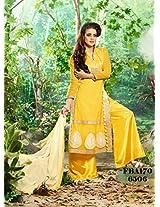 Fabboom New Latest Fancy Pakistani Long Plazo Suits - Yellow Colour