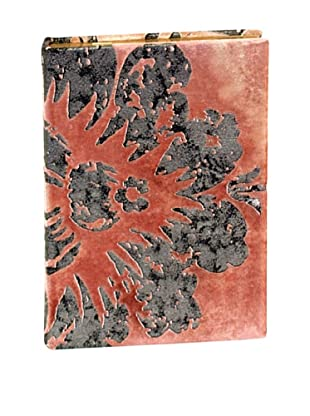 Aviva Stanoff Gilt-Edged Velvet Keepsake Wide-Ruled Journal, Burgundy/Silver