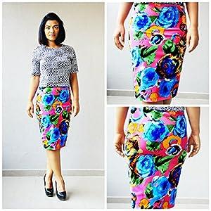 Madhurima Bhattacharjee Garden Bloom on Pink Midi Pencil Skirt-US size 8