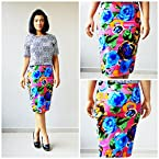 Madhurima Bhattacharjee Garden Bloom on Pink Midi Pencil Skirt-US size 8