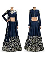 Sdfashions Style - Navy Blue Color Raw Silk Lehenga - S223-Navy Blue (Sia -S-Series)