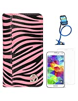 VanGoddy Mary Zebra Print Portfolio Self Stand Book Style Case Cover For Samsung Galaxy S5 G900 (Magenta) + Long Flexible Stand + Matte Screen
