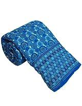 Little India Hand Block Sanganeri Print Cotton Double Bed Quilt - Blue  (DLI3DRZ310)