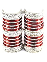 Vidhya Kangan Personalize Brass Metal Set Bangle - Maroon 2.6