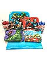 Avengers Party Table Setting Kit, With Plates, Napkins, Cups And Table Cover