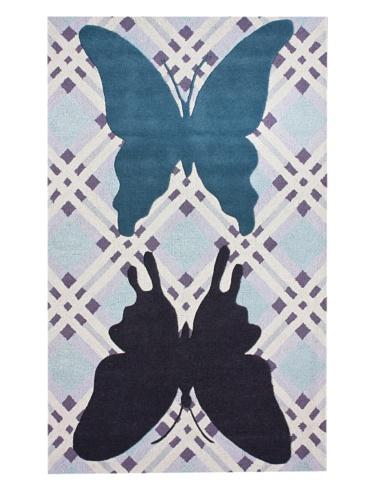 KinderLOOM Butterfly Patchwork Rug (Blue)