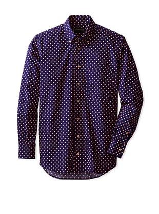 Kenneth Gordon Vintage Capsule Men's Polka Dot Woven Shirt (Navy)