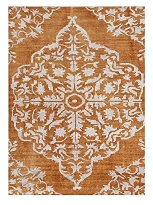 Hand-Knotted Two-Tone Rug, Orange/Ivory, 2' x 3'
