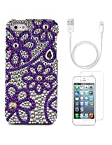 VanGoddy Flower Rhinestones Full Diamond Back Cover for Apple iPhone 5s (Purple) + Data Cable + Matte Screen