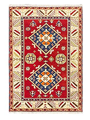 Hand-Knotted Royal Kazak Wool Rug, Red, 4' 1
