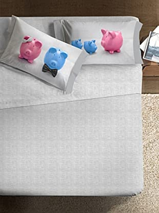 Ipersan Betttuch und Kissenbezug Fine-Art Piggy Family