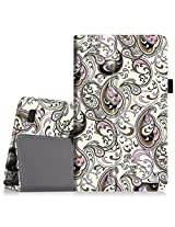 """Fintie Fire 7 2015 Case - Slim Fit Folio Premium Vegan Leather Standing Protective Cover Case for Amazon Fire 7 Tablet (will only fit Fire 7"""" Display 5th Generation - 2015 release), Paisley Waves"""