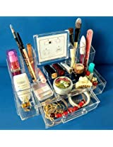 Vieworld Acrylic Cosmetic Organizer w/ Mirror on one side and Photo Frame on the other 1 Drawer 13 Compartments Clear