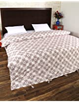Ethnic Hand Block Printed Cotton Duvet Cover Double White Leaves By Rajrang