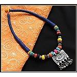 Navy Blue thread choker with gungroo pendant