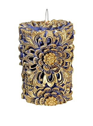 Volcanica Dendritic Pillar Candle, Blue/Gold, Small
