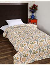 Ethnic Hand Block Printed Cotton Quilt Single White Floral By Rajrang