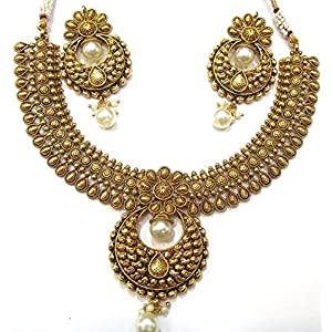 SHINGAR JEWELLERY ANTIC GOLD LOOK NECKLACE SET FOR WOMEN (AS5116)