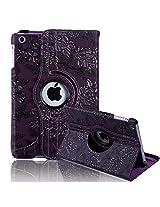 HDE iPad Mini Tablet Case Rotating Flip Stand Folding Magnetic Cover Designer for Apple Mini 2/3 Retina(Dark Purple Flower)