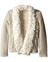 Splendid Girls' Knit Faux Fur Jacket
