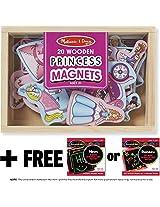 Princess Wooden 20 Magnets-in-a-Box Gift Set + FREE Melissa & Doug Scratch Art Mini-Pad Bundle [9278