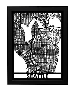 Cut Maps Seattle Framed 3-D Street Map