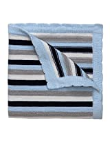 "Elegant Baby 100% Cotton Sweater Knit Blanket, Navy Stripes, 30"" X 40"""