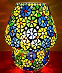 Priyal Artz Multi Colored Geometrical Design Flowers Glass Table Lamp With Bed Side On/Off Switch And Brass Holder
