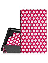 """Fintie Fire 7 2015 Slim Shell Case - Ultra Slim Lightweight Standing Cover for Amazon Fire 7 Tablet (will only fit Fire 7"""" Display 5th Generation - 2015 release), Polkadot"""