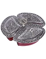 Creative Creations Decorative Handicrafts Metal Dry Fruits Try Red ( 12 cm x 12 cm x 5 cm, Red )