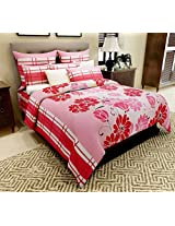 Home Candy 144 TC Beautiful Pink Floral Cotton Double Bed Sheet with 2 Pillow Covers