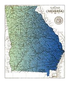 "Georgia Gradient Map, Blue/Green, 40"" x 32"""