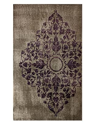 nuLOOM Hand-Knotted Overdyed-Style Medallion Rug (Grey)