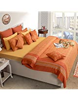 House This 100% Cotton 1 Double Bedcover & 2 Pillow Covers Delft Orange