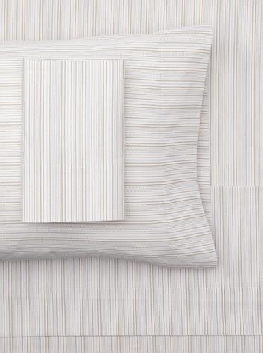sOUP Home Hyphen Stripe Sheet Set (White/Natural)