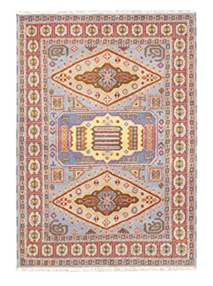 Hand-Knotted Royal Kazak Wool Rug, Pale Blue, 4' 8