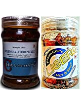 SeaFood Lover's Combo - CHAVADY's Mixed Sea-Food Pickle 300 Gms & LIGER Prawn Chips 50 Gms
