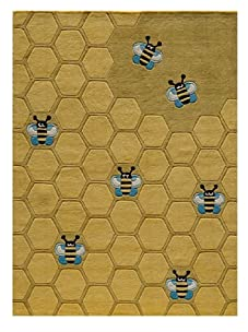 Lil Mo Bees Knees Rug (Honeycomb Gold)