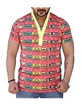Black Collection Men's Turtleneck Cotton T-Shirt (Red_Large)