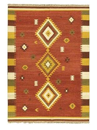Hand Woven Kashkoli Wool Kilim, Dark Red, 5' 7